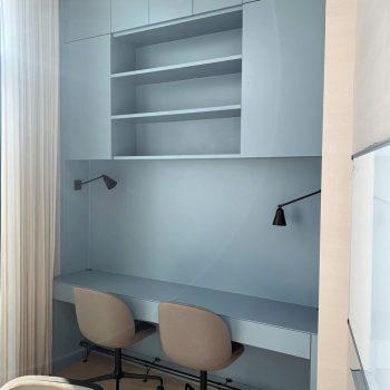 Luxury bespoke desk, home office for two people, open shelves