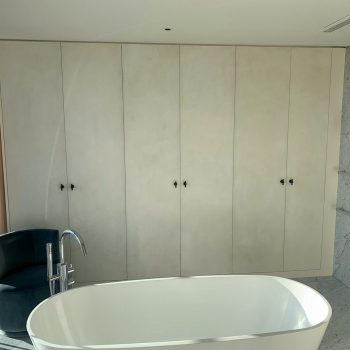 Wardrobes in a bathroom, great views of Chelsea Harbour