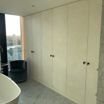 Bespoke Wardrobe in the bathroom of a Penthouse over looking Chelsea Harbour