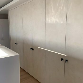 Wardrobe with specialist paint finish to doors.