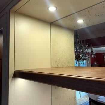 Antique mirror, Black American Walnut shelf, LED spotlight