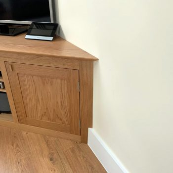 Solid Oak fitted television cabinet with shaker door