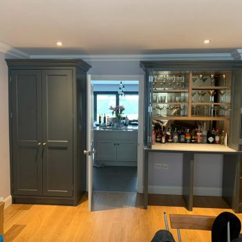 Coat cabinet, drinks cabinet, Joinery with skirting and coving