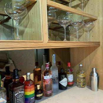 Solid oak display shelves for drinks