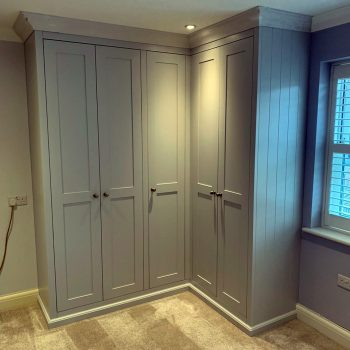 Shaker style doors on a wardrobe with V groove end panel
