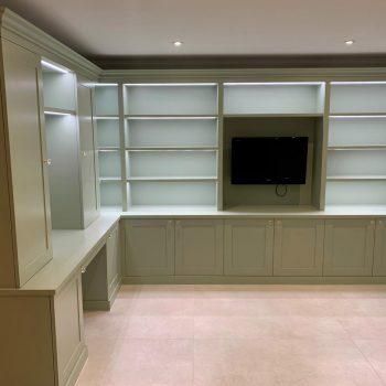 Home office and display bookcase with LED lighting