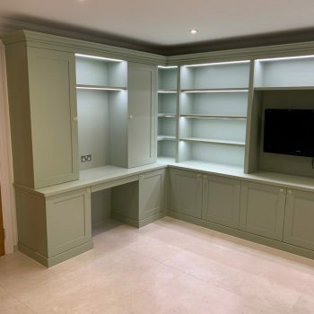 Bookcase and study Joinery with integrated LED lighting