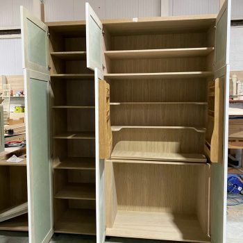 Spice racks in a kitchen cabinet