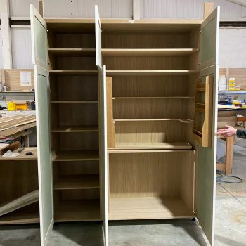 Bespoke larder unit being made with spice rack to back of doors