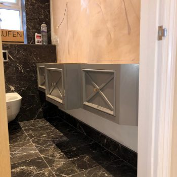 Bespoke vanity unit, X cross fretwork drawer fronts
