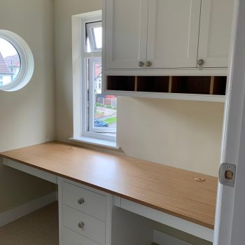 Bespoke Home office manufactured to cater for clients needs to work at home comfortably