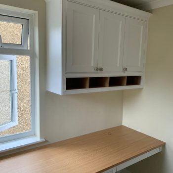 Bespoke Desk with pedestal with a single in framed wall unit