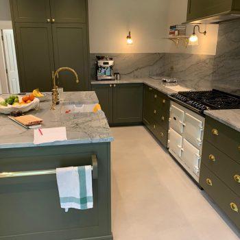 Bespoke Shaker Style Kitchen finished sprayed using Mylands Messel No. 39