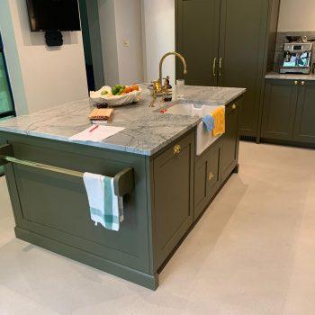 Bespoke Island unit in kitchen with butler sink